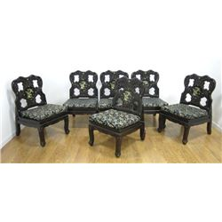 Set of 6 Chinese Lacquered Chairs