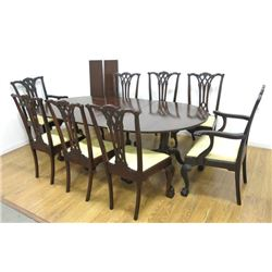 8 Chippendale Style Chairs & Mahogany Table