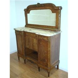 Marble Top lnlaid Buffet with Mirror