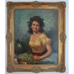 Portrait of Lady with Grapes