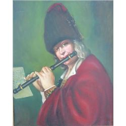 Oil on Canvas, Man Playing a Flute