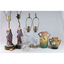 Group Lot of Lamps, Pottery, & Glass