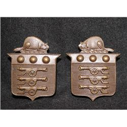 B22. Canadian Ordnance Corps OFFICER'S collar badge pair