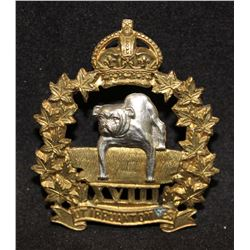 B41. 18th (Manitoba) Mounted Rifles Cap Badge