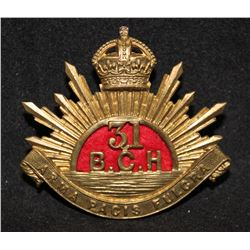 B46. 31st British Columbia Horse Cap badge.