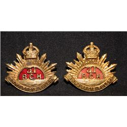 B47. 31st British Columbia Horse, collar badge pair