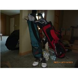 2 SETS OF GOLF CLUBS AND SHOES