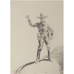 """Will James, Howdy, charcoal, 9"""" x 6"""", framed, signed """"W.J."""" lower right"""