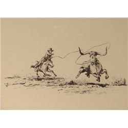 """Will James, Roping the Wild Cow, etching, 6"""" x 8"""", signed """"WJ"""" lower left in image"""