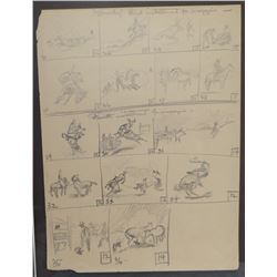 """Will James, """"Smoky"""", 3rd & 4th installment for magazine, pencil sketch, 12""""x 9"""", framed, appears uns"""