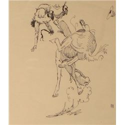 """Will James, Horse Wreck, pen & ink, 5""""x 4"""", framed, signed """"III"""" lower right"""