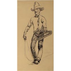 """Will James, Cowboy & Rope, pen & ink, 8"""" x 5"""", framed, appears unsigned"""