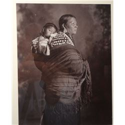 Mrs. Twinn & Child single photo, ND Heritage Foundation. 6 by 8 inches. and  6 albumen tinted photos