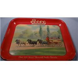 Bevo Beverage tip tray, chips on the surface.  The condition is about good.