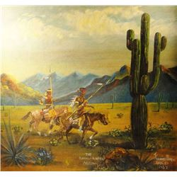 "Moran, Jimmie oil painting, 1939. Buffalo Hunters, Arizona. 24"" wide inches by 22"" h.The condition i"