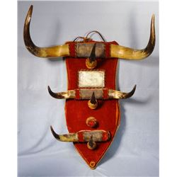 Old West Style horned & mirrored hat rack, 28 1/2 h by 12 1/2 inches wide, one horn missing.