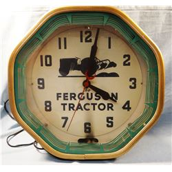"Ferguson tractor advertising neon wall clock, metal case,electric and working. Very cool.  18 1/2"" h"