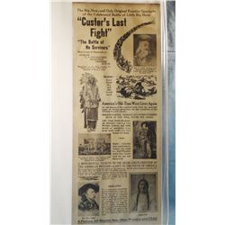 """Custer's Last Fight"" newsprint poster,was  printed by Perkins Bros. Co., Sioux City.  The condition"