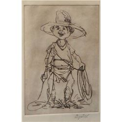 "Gary Schildt,  etching, Little Cowboy, 8 1/2"" x 6"", framed"