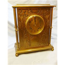 Ansonia brass case clock, 8 day movement w/ strike