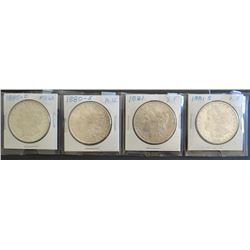 4 Morgan dollars: 1880-O, MS 60, 1880-S, AU, 1881-P, XF, 1881-S, XF
