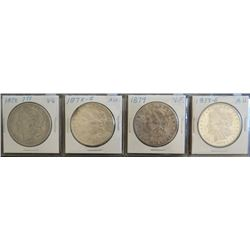 4 Morgan dollars: 1878-P, 7 Tail feathers, VG, 1878-S, AU, 1879-P, VF, 1879-S, AU