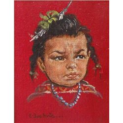 "E. Lockrie, original child portrait, 5"" x 6"", framed"