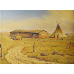 "Rex Rieke, original oil on canvas, Log Cabin & Teepee, 12"" x 16"", framed"