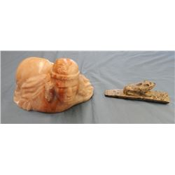 3 pieces: Stone carved eagle, signed Mardelle, 1987; Carved soap stone frog pipe; Sacred Path indian