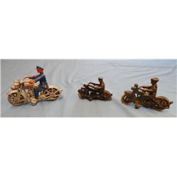 3 Police toy motorcycles, 2 cast iron