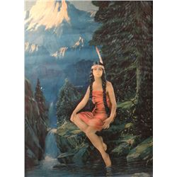 """Indian Maiden print, possibly R. Atkinson Fox, 12"""" x 16"""", framed"""
