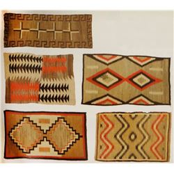 5 Navajo rugs. Includes eye dazzler pattern, stacked triangle overlay design, crosses and Greek key