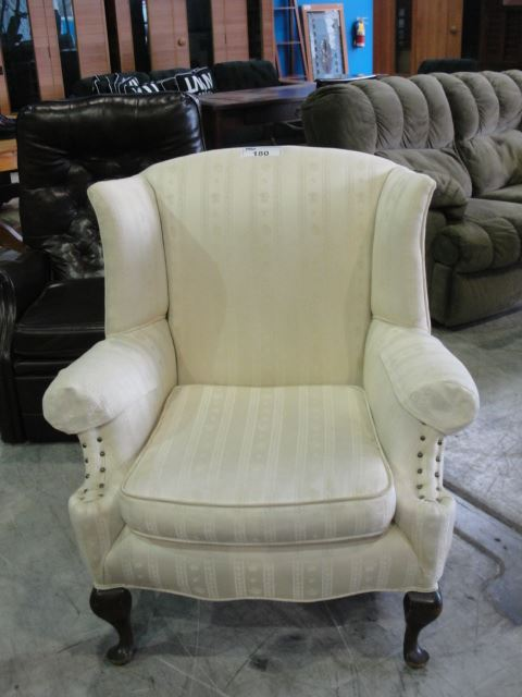 Off White Upholstered Living Room Arm Chair Able Auctions