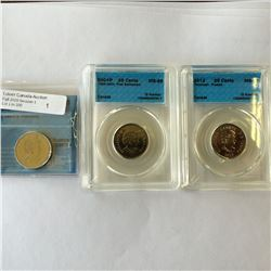 25 cents 2009 Men's Hockey CCCS MS-65, 2012 Tecumseh Frosted CCCS MS-65 & 2012 De Salaberry Frosted