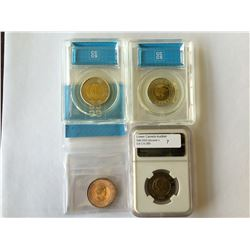 2 dollars 2011 MS-64; TT-200.4, 2011 MS-64; Bear, 2012 MS-65; War of 1812, Security Stamps, all 3 CC