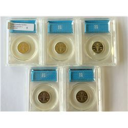 5 cents 2005P, CCCS MS-64; 1945-2005, Victory & 4 x CCCS MS-65. Lot of 5 coins.