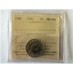 5 cents 1941 in ICCS MS-64.