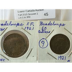 Guadeloupe; 50 Centimes 1921 EF and 1 Franc 1921 VF+. Lot of 2 coins.