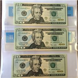USA; 20 dollars note 2009, JF19691969A Repeater with the 2 following notes all 3 notes CCCS certifie