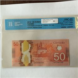 Bank of Canada; 50 dollars 2012, BC-72aA, AHY5491760, Insert Range 5.491M - 5.492M, CCCS UNC-65 Part