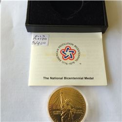 USA; Gold plated National Bicentennial medal in case with COA.