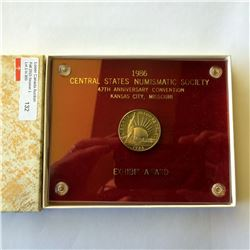 USA; 50 cents commemorative 1986S Proof in Capitol holder made for a Exhibit Award for the Central S