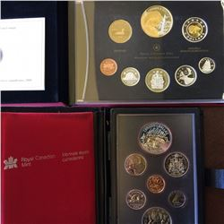 RCM; Proof set 1980 casing hinge unglued and Proof set 2008 with dollar Selectively Gold Plated. Lot