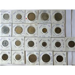 World coins: Brazil, 100 to 500 Reis and 2-5-50 Centavos, from 1901 to 1995, containing 21 coins tot