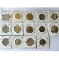 World lot: France, five and 1 et 5 francs + 50 centimes  from 1962 to 1975 containing 14 coins total