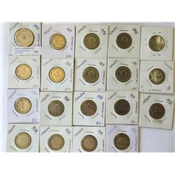 World lot: France,  10 et 20 francs plus one Euro from 1988 to 1991 containing 19 coins total.