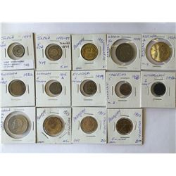 World lot: mix of coins from different country see picture from 1894 to 1996, containing 14 coins to