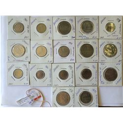 World coins: Brazil, Reis-Cruzeros and Centavos, from 1893 to 1993, containing 17 coins total.