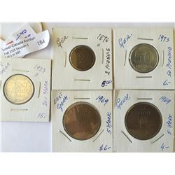 World lot: East Germany from 1876 to 1969, containing 5 coins total.