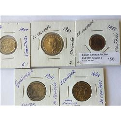 world coins: Ecuator, el salvador, Guatemala from 1934 to 1963, containing 5 coins total.